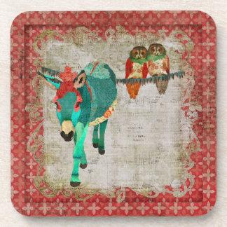 Donkey Rose Owls Cork Coaster
