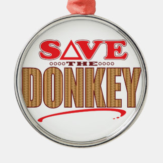 Donkey Save Silver-Colored Round Decoration