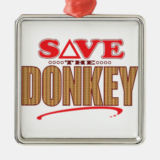 Donkey Save Silver-Colored Square Decoration