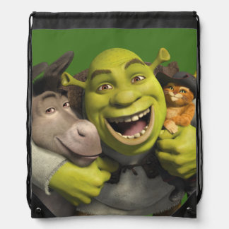 Donkey, Shrek, And Puss In Boots Drawstring Bag