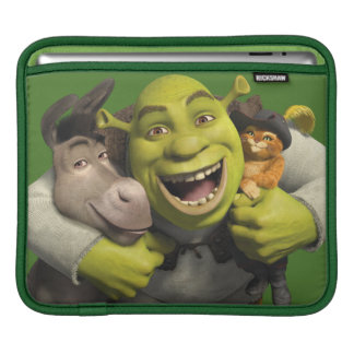 Donkey, Shrek, And Puss In Boots iPad Sleeve