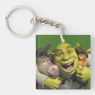 Donkey, Shrek, And Puss In Boots Key Ring