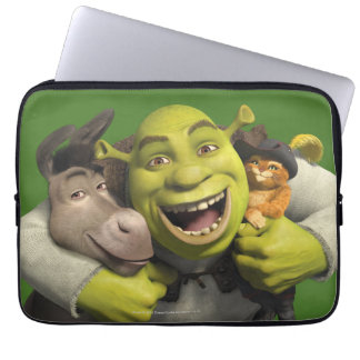 Donkey, Shrek, And Puss In Boots Laptop Sleeve