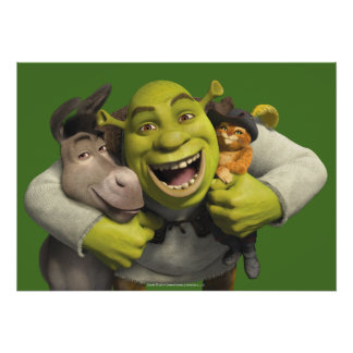 Donkey, Shrek, And Puss In Boots Poster