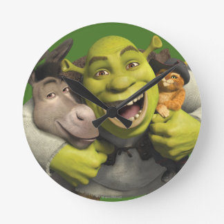Donkey, Shrek, And Puss In Boots Round Clock