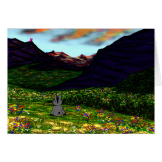 donkey staring at mountains card