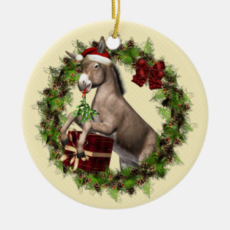 Donkey Wearing Santa Hat in Wreath Round Ornament