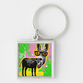Donkey Wearing Sunglasses Silver-Colored Square Key Ring