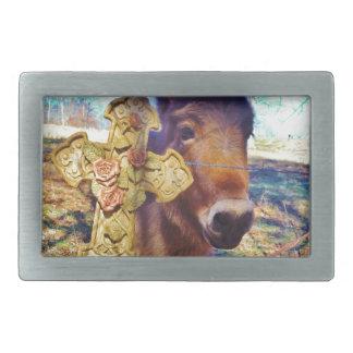 Donkey with Rose Cross Rectangular Belt Buckles
