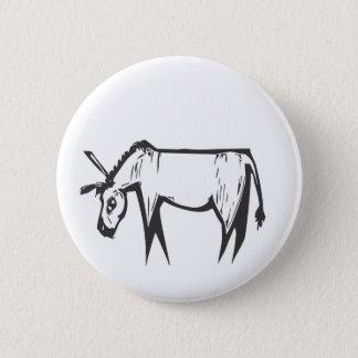 Donkey Woodcut 6 Cm Round Badge
