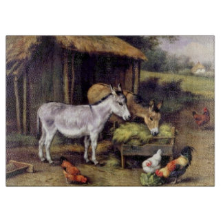 Donkeys Chicken Farm Animals Painting Cutting Board