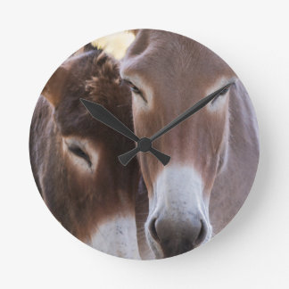 donkeys grazing round clock
