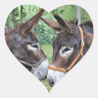 Donkeys in love heart sticker