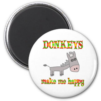 Donkeys Make Me Happy Magnet