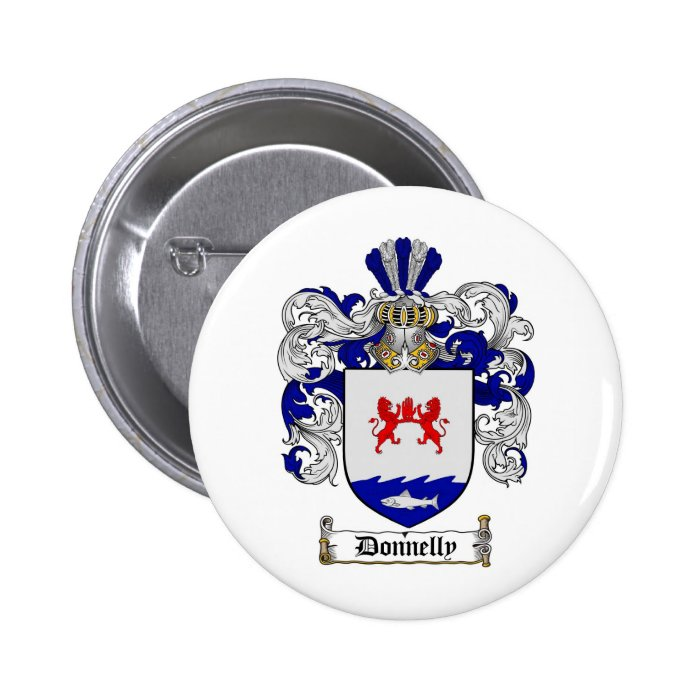 DONNELLY FAMILY CREST -  DONNELLY COAT OF ARMS 6 CM ROUND BADGE