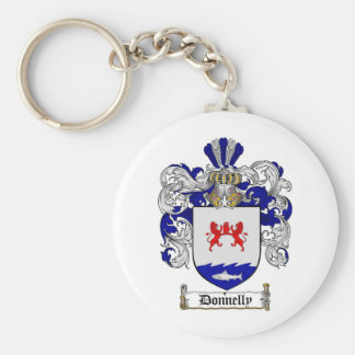 DONNELLY FAMILY CREST -  DONNELLY COAT OF ARMS BASIC ROUND BUTTON KEY RING