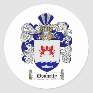 DONNELLY FAMILY CREST -  DONNELLY COAT OF ARMS ROUND STICKER