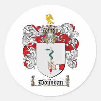 DONOVAN FAMILY CREST -  DONOVAN COAT OF ARMS CLASSIC ROUND STICKER