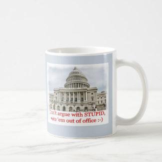 Don't argue with STUPID... Basic White Mug