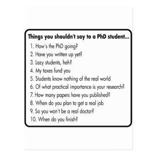 Don't ask a PhD Postcard