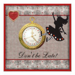 Don't be Late Alice in Wonderland Birthday Party 13 Cm X 13 Cm Square Invitation Card
