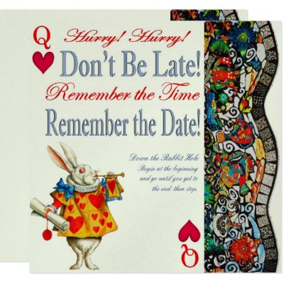 Alice in Wonderland Dont Be Late Birthday Card – Alice in Wonderland Birthday Cards