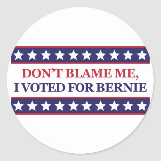 Don't blame me I voted for Bernie Round Sticker