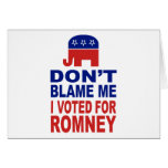 Don't Blame Me I Voted For Romney
