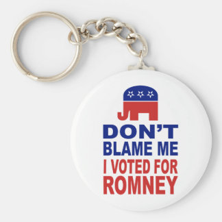Don't Blame Me I Voted For Romney Basic Round Button Key Ring