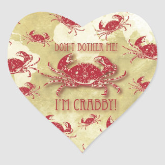 Don't Bother Me, I'm Crabby quirky crab pattern. Heart Sticker