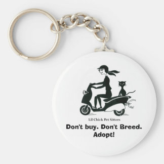 Don't buy. Don't Breed. Adopt! Basic Round Button Key Ring