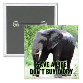 Don't Buy Ivory, Save an Elephant's Life 15 Cm Square Badge