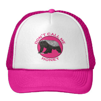 Don't Call Me Honey Honey Badger Pink Feminist Art Cap