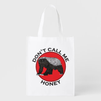 Don't Call Me Honey, Honey Badger Red Feminist Art Reusable Grocery Bag