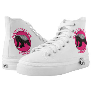 Don't Call Me Honey Pink Feminist Honey Badger Art High Tops
