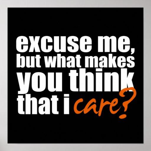 Don't Care (Orange) Poster