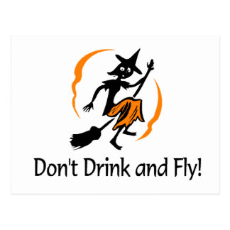 Dont Drink And Fly Witch Postcard