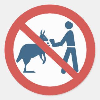 Don't Feed the Kangaroos Sign, Australia Classic Round Sticker