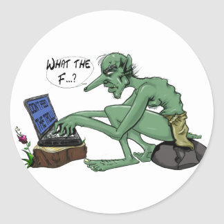 Don't feed the troll round sticker