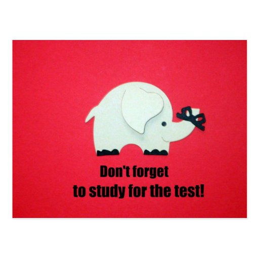 Don't forget, study for the test! postcards