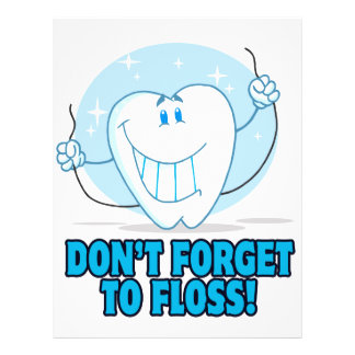 don't forget to floss flossing cartoon tooth 21.5 cm x 28 cm flyer