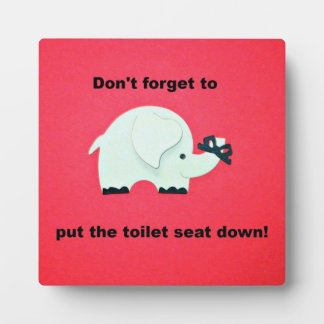 Don't forget to put the toilet seat down! plaque