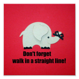 Don't forget, walk in a straight line! poster