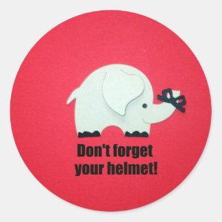 Don't forget your helmet! round sticker