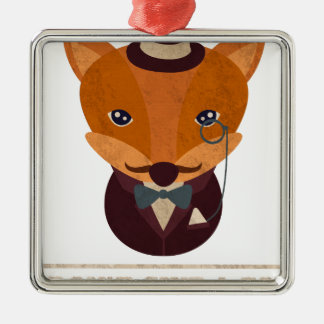 Dont Give A Fox Comic Animal Silver-Colored Square Decoration