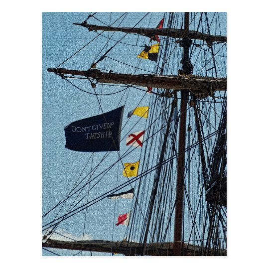 Don't Give Up The Ship Flag Postcard