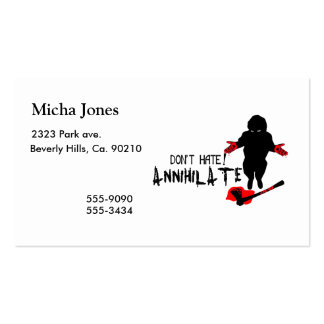 Don't Hate! Annihilate Business Card