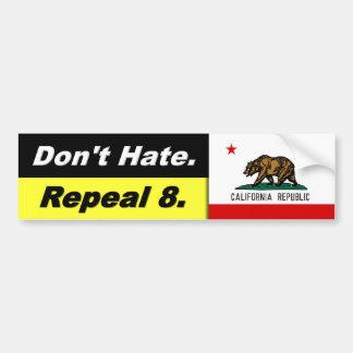 Don't Hate Repeal 8 w. Cali Flag - Bumper Sticker Car Bumper Sticker