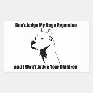 Don't Judge My Dog (Dogo Argentino) Rectangular Sticker
