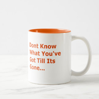DONT KNOW WHAT YOUVE GOT TILL ITS GONE MISSING YOU Two-Tone MUG